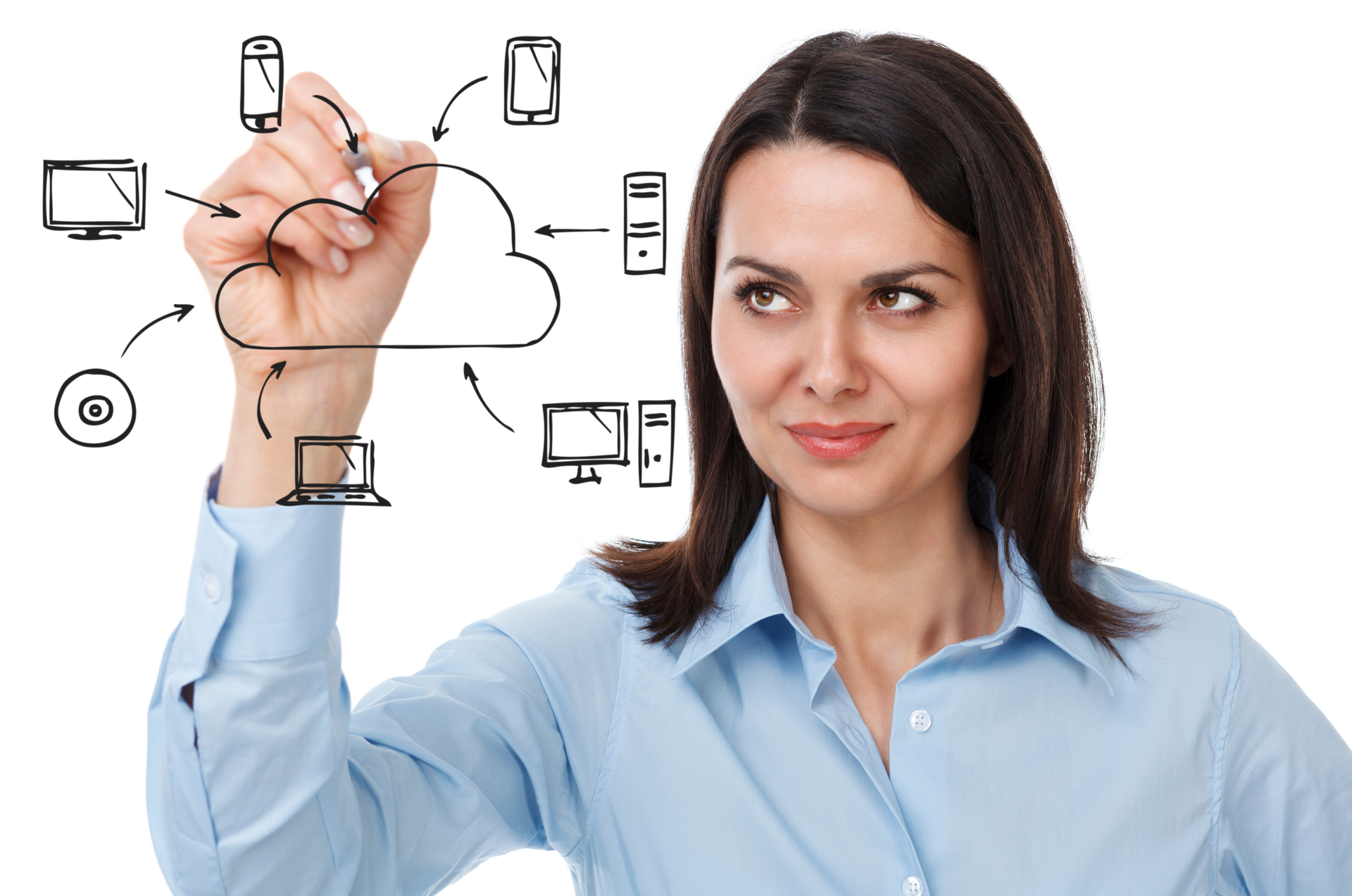 Businesswoman drawing cloud computing diagram. Isolated on white background.